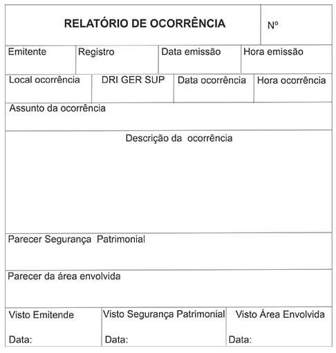 Relatório de Ocorrência da Segurança Patrimonial (R.O.)